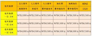 包車旅遊價格表